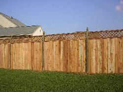 6' cedar solid board w/lattice top & colonial gothic posts