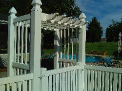 6) 4' high vinyl picket w/custom vinyl arbor